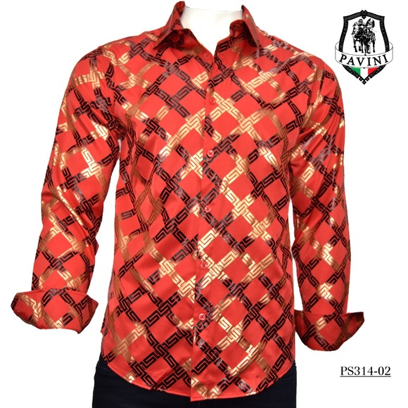 Shirt Slim Fit Red with Black Check Plaid Button Front Mens Pavini Limited Ed